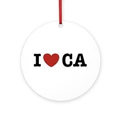 I Love CA Ornament (Round)
