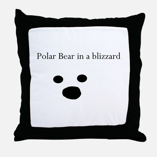 Polar Bear in a blizzard Throw Pillow