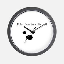 Polar Bear in a blizzard Wall Clock
