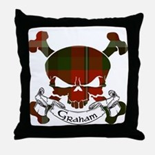 Graham Tartan Skull Throw Pillow