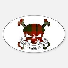 Graham Tartan Skull Sticker (Oval)