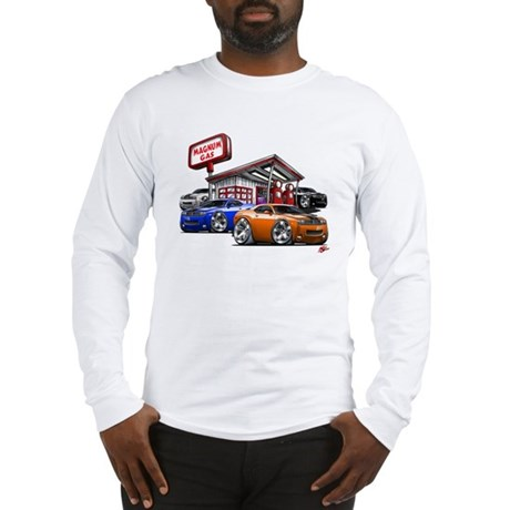 Dodge Challenger Gas Station Scene Long Sleeve T-S