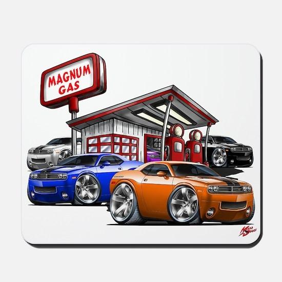 Dodge Challenger Gas Station Scene Mousepad