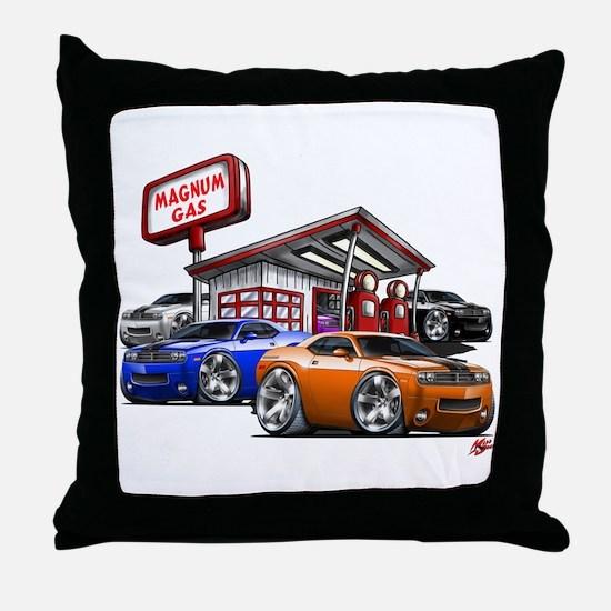 Dodge Challenger Gas Station Scene Throw Pillow
