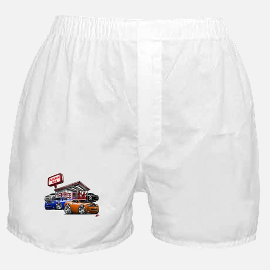 Dodge Challenger Gas Station Scene Boxer Shorts