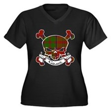 Grant Tartan Women's Plus Size V-Neck Dark T-Shirt