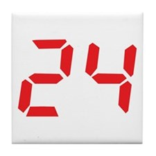 24 twenty-four red alarm cloc Tile Coaster