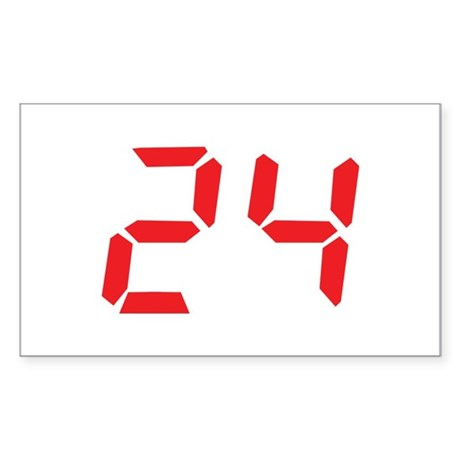 24 twenty-four red alarm cloc Rectangle Sticker