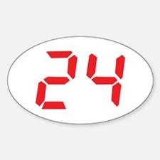 24 twenty-four red alarm cloc Oval Decal