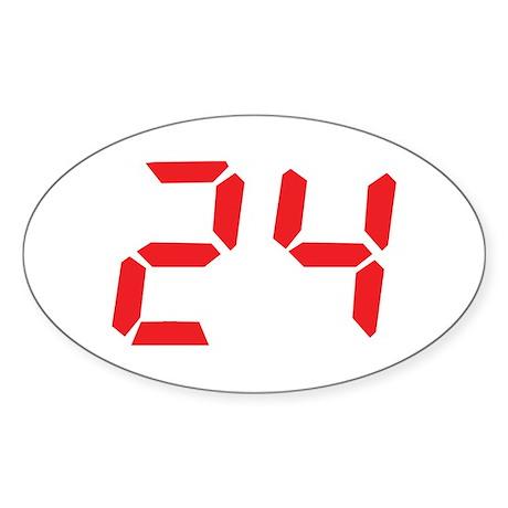 24 twenty-four red alarm cloc Oval Sticker