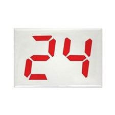 24 twenty-four red alarm cloc Rectangle Magnet
