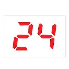 24 twenty-four red alarm cloc Postcards (Package o