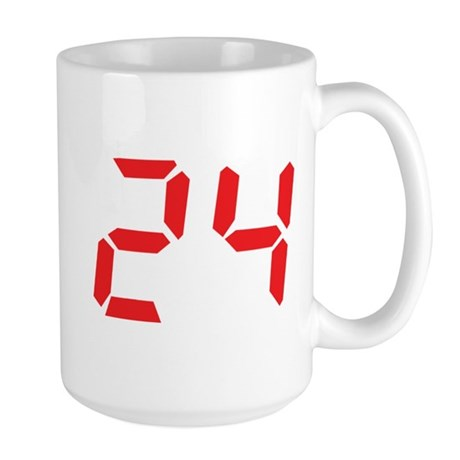24 twenty-four red alarm cloc Large Mug