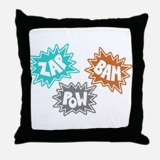 Comic Sound FX - Blue Orng Grey Throw Pillow