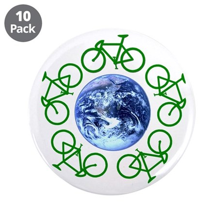 """Bicycles Around the Globe 3.5"""" Button (10 pack)"""