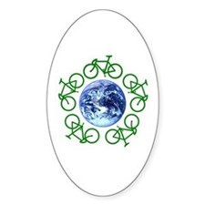 Bicycles Around the Globe Oval Decal