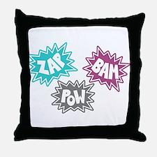 Comic Sound FX - Blue Pink Grey Throw Pillow