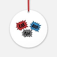 Comic Sound FX - Blue Red Grey Ornament (Round)