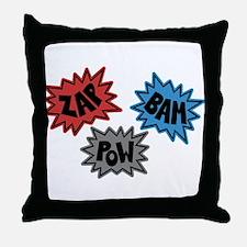 Comic Sound FX - Blue Red Grey Throw Pillow