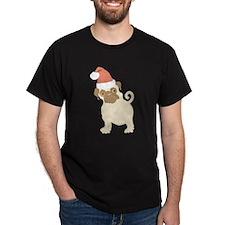Santa Pug Black T-Shirt