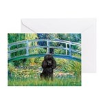 Bridge / Poodle (Black) Greeting Card