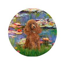 """Lilies / Poodle (Apricot) 3.5"""" Button"""