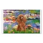 Lilies / Poodle (Apricot) Sticker (Rectangle)