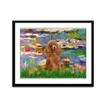 Lilies / Poodle (Apricot) Framed Panel Print