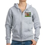 Lilies / Poodle (Apricot) Women's Zip Hoodie