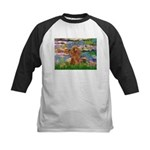 Lilies / Poodle (Apricot) Kids Baseball Jersey