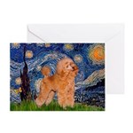 Starry / Poodle (Apricot) Greeting Card