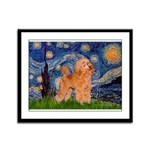 Starry / Poodle (Apricot) Framed Panel Print