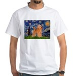 Starry / Poodle (Apricot) White T-Shirt