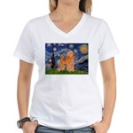 Starry / Poodle (Apricot) Women's V-Neck T-Shirt