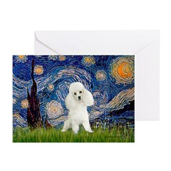 Starry / Poodle (White) Greeting Cards (Pk of 20)