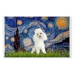Starry / Poodle (White) Sticker (Rectangle 10 pk)