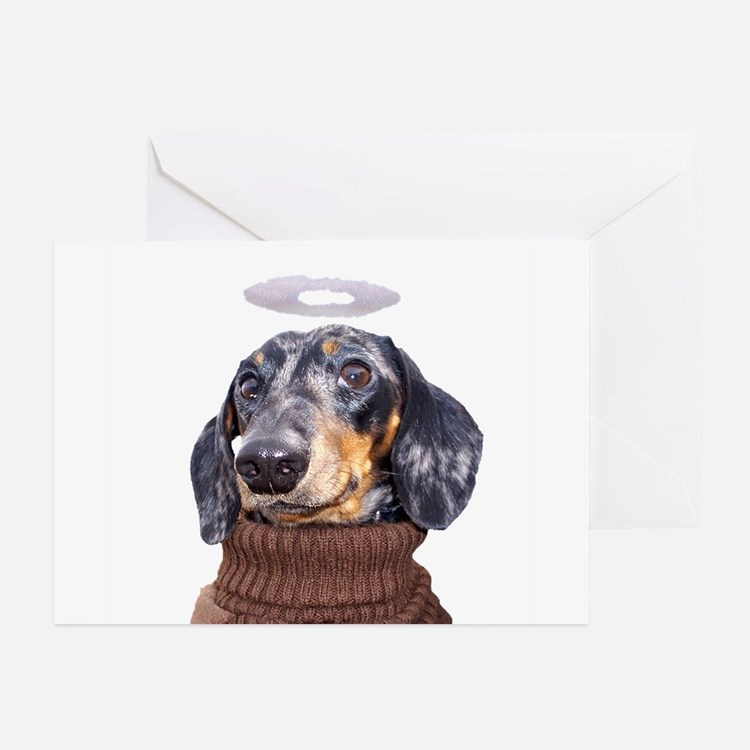 Angel Spotted Doxie Greeting Cards (Pk of 10)