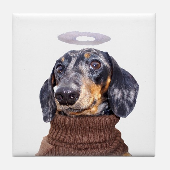 Angel Spotted Doxie Tile Coaster