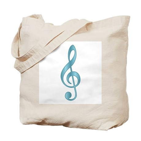 """Metallic"" Aqua Treble Clef Tote Bag"