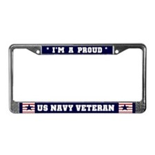 Proud US Navy Veteran License Plate Frame