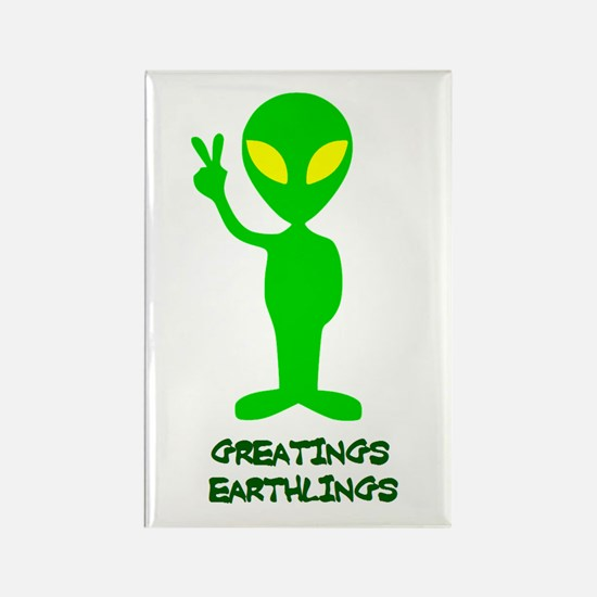 Greetings Earthlings Rectangle Magnet