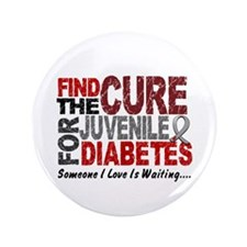 """Find The Cure 1 JUV DIABETES 3.5"""" Button"""