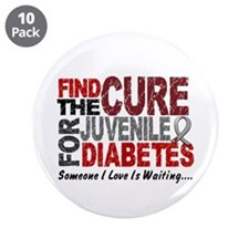 """Find The Cure 1 JUV DIABETES 3.5"""" Button (10 pack)"""