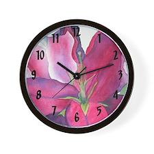 Pink Lily Wall Clock