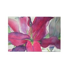 Pink Lily Rectangle Magnet (10 pack)