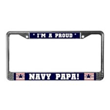 Proud Navy Papa License Plate Frame