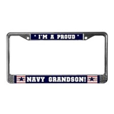 Proud Navy Grandson License Plate Frame