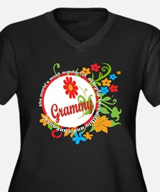 Wonderful Grammy Women's Plus Size V-Neck Dark T-S