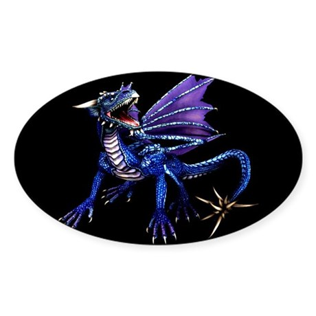 Blue Dragon At Night Oval Sticker