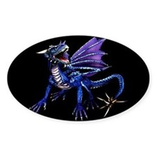 Blue Dragon At Night Oval Stickers